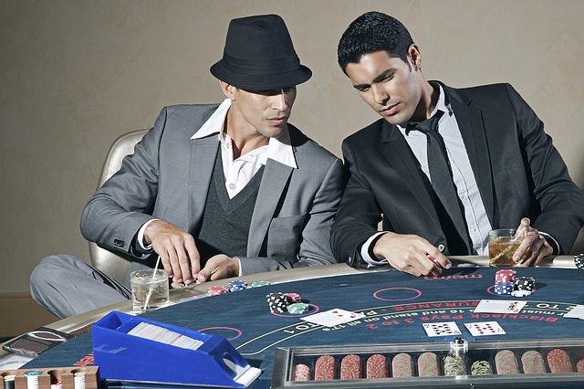 two men playing blackjack